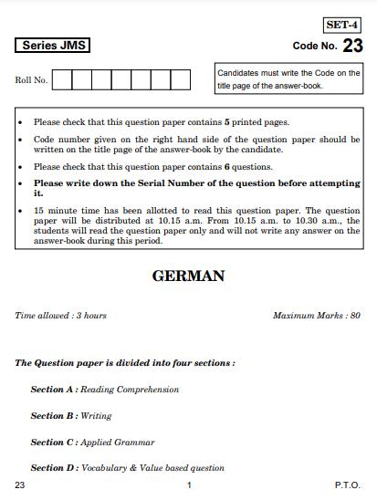 CBSE Class 10 German Question Paper 2019