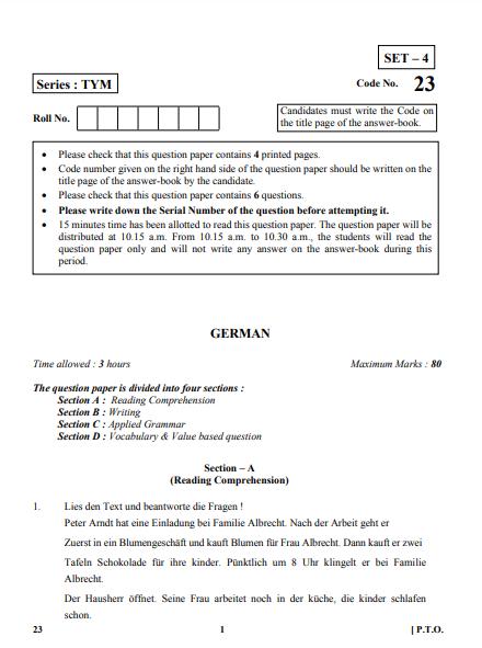 CBSE Class 10 German Question Paper 2018