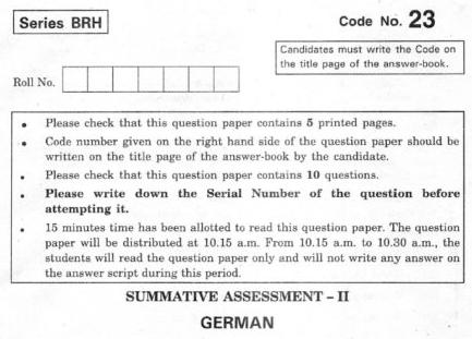 CBSE Class 10 German Question Paper 2012
