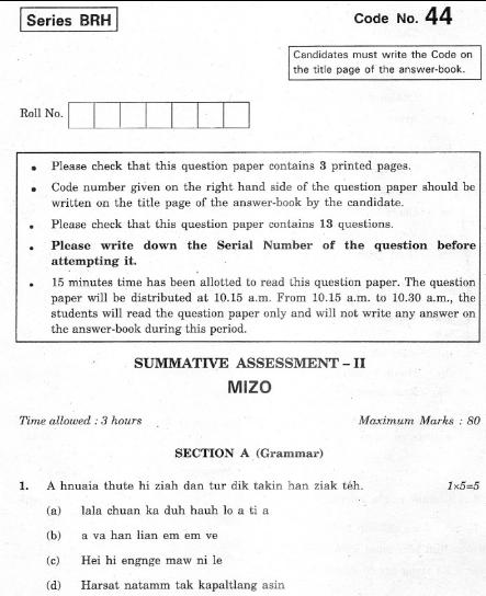 CBSE Class 10 Persian Question Paper 2012