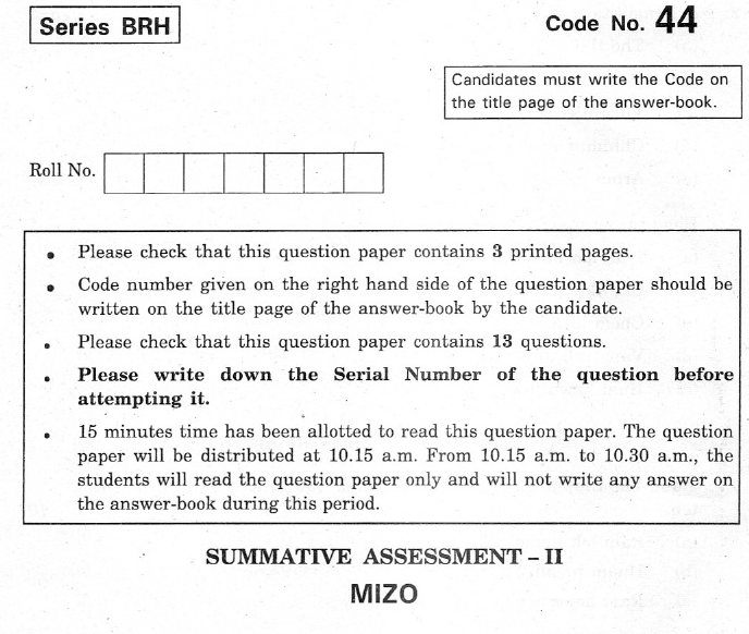 CBSE Class 10 Mizo Question Paper 2012