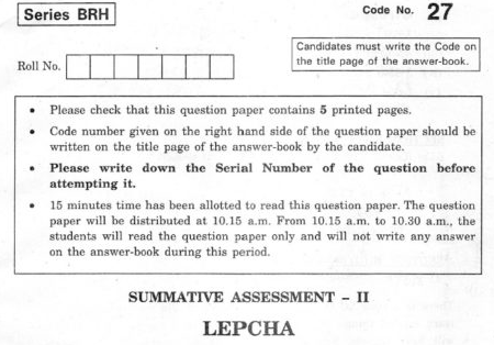CBSE Class 10 Lepcha Question Paper 2012