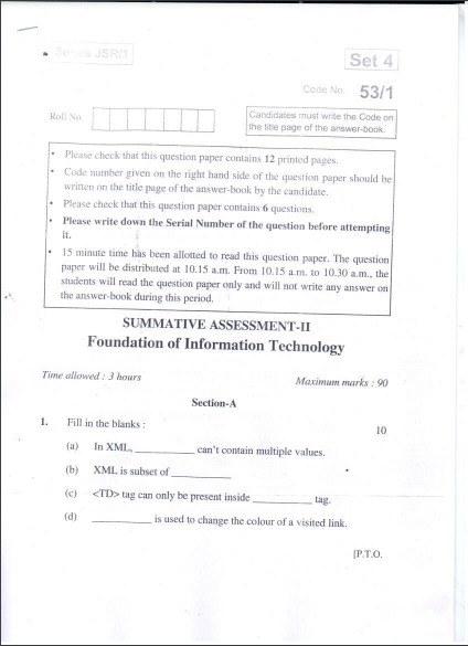 CBSE Class 10 Foundation of Information Technology Question Paper 2016
