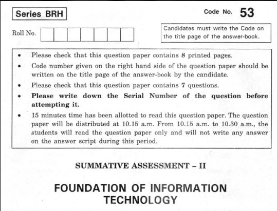 CBSE Class 10 Foundation of Information Technology Question Paper 2012