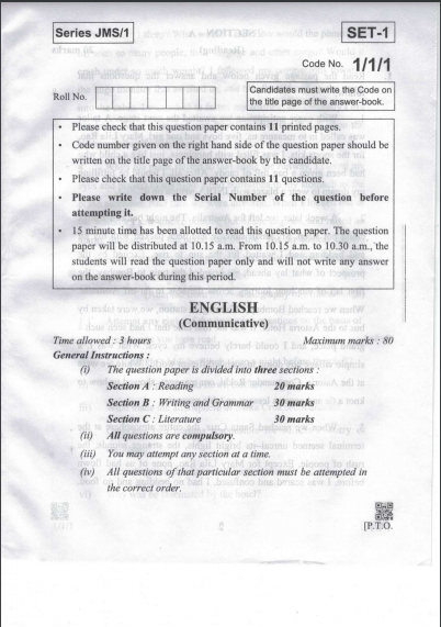 CBSE Class 10 English communicative Question Paper 2019