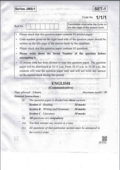 CBSE Class 10 English communicative Question Paper 2019