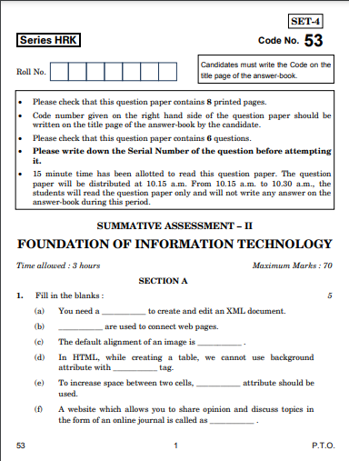 CBSE Class 10 Foundation of Information Technology Question Paper 201
