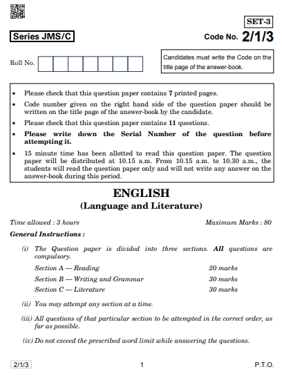 CBSE Class 10 english literature Compartment Previous Year Question Papers 2019
