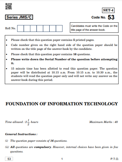 CBSE Class 10 FIT Compartment Previous Year Question Papers 2019