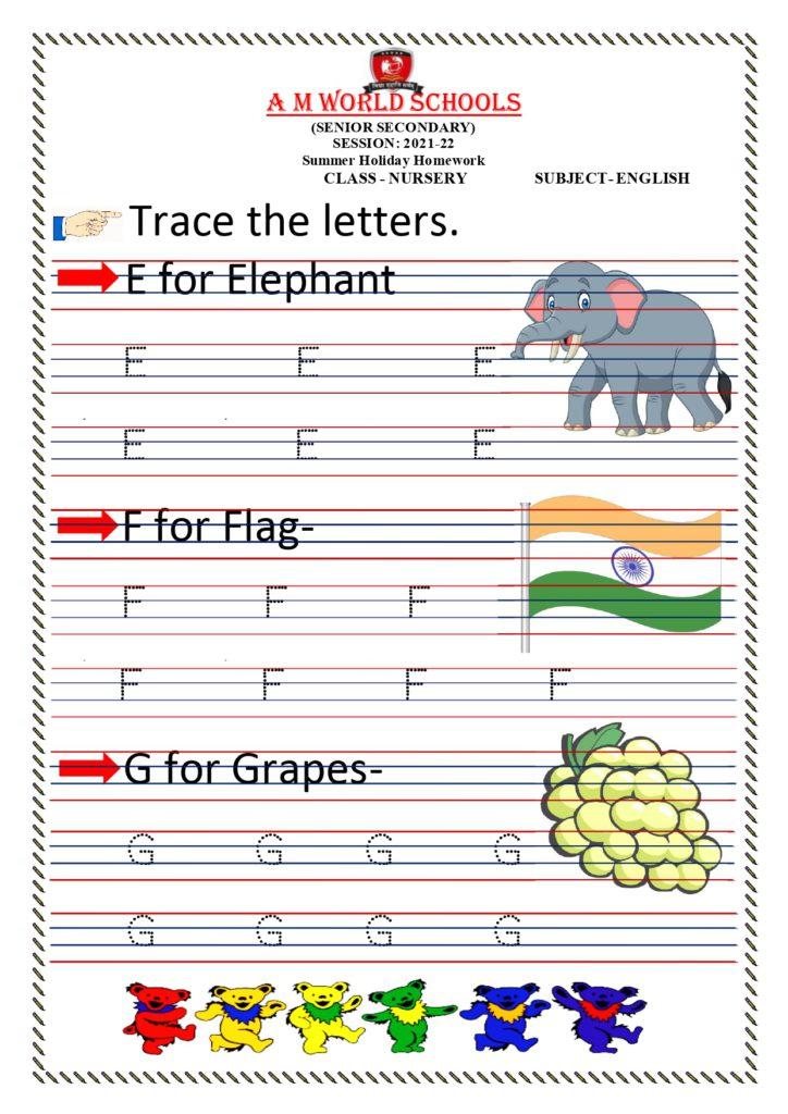 Nursery English Worksheets